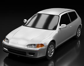 3D asset game-ready 1991 Honda Civic VTi EG6 3-Door
