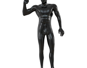 3D Black male mannequin posing 65