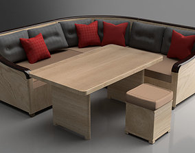 Corner Table Cushion Puff Couch 3D asset rigged