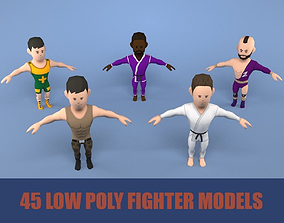 Low poly fighters pack 3D model