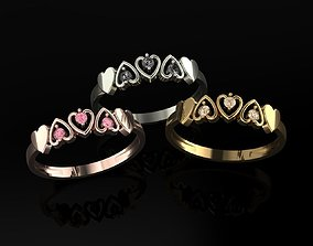 gold 3D printable model Ring Hearts