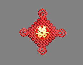 Cartoon Chinese Knot - Wedding Ornaments 3D model