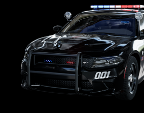 3D model UE4 2016 Dodge Charger Pursuit Hellcat with