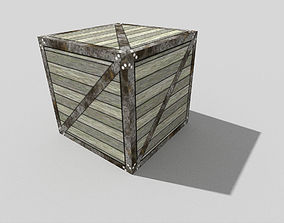 3D model game-ready low poly metal crate