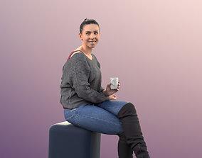 11050 Estelle - woman sitting drinking coffee 3D model