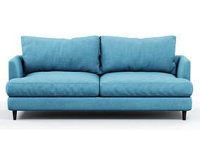 3D model Soft sofa fabric blue