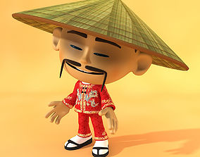 Cartoon Asian man 3D