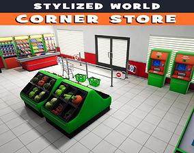 3D asset realtime Stylized Corner Store
