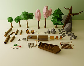 VR / AR ready Camp Low Poly Pack 3D Model