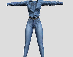 Female Jeans n Top 3D asset game-ready