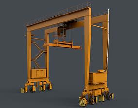 PBR Rubber Tyred Gantry Crane RTG V2 - Yellow 3D model