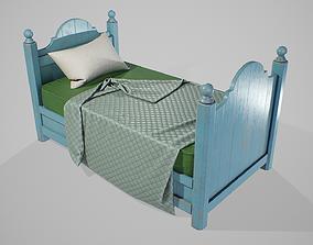 PBR Wood Children Bed 3D asset