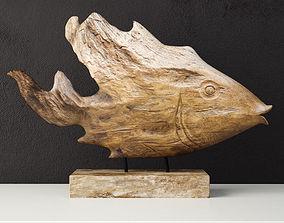 3D Teak Fish Bust by Uttermost