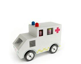 3D White Ambulance Toy