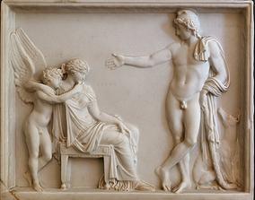 Paris Helen and Eros relief at Achilleion 3D print model 3