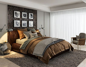 3D model american style bed room