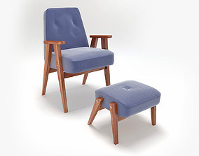Retro Blue Chair and Ottoman 3D model