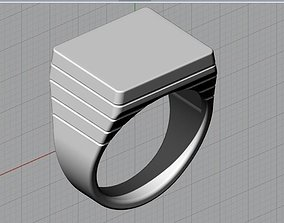 3D print model jewelry Mens Engravable Signet Ring
