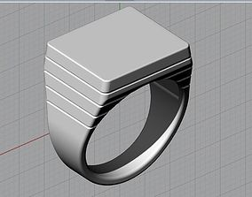 3D print model jewelry Mens Engravable Signet Ring
