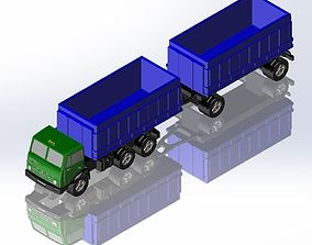 3D printable model KamAZ and 2axis flatbed trailer