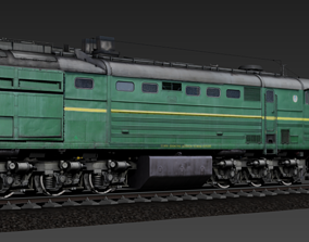 Russian Locomotive 2TE10M 3D asset