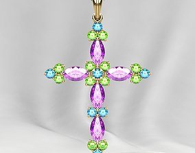 3D print model Gold Cross Pendant with Gemstones