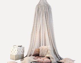 Children canopy and decor in pink colors 3D