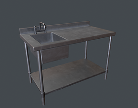 3D asset Stainless Steel Commerical Sink