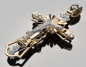 Golden cross with the faces of saints 3D print model