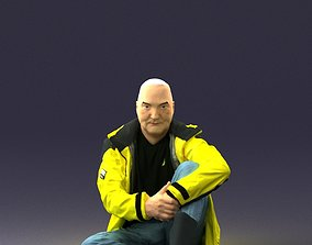 Sitting man in a yellow jacket 0264 3D Print Ready