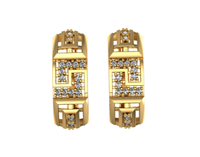 Earrings Diamond geometry set 3D print model