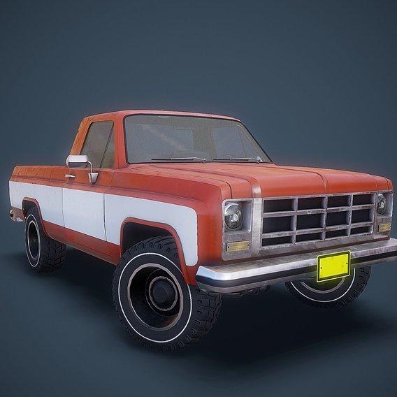 Gameready american pickup Low-poly 3D model