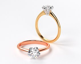 two tones gold engagement ring with 1 3D printable model 2