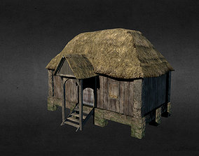 Medieval house 3D asset low-poly