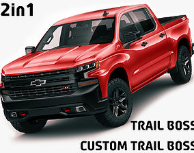 3D model Chevrolet Silverado Trail Boss and Custom