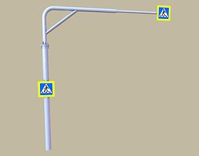 Traffic sign crosswalk 3D model