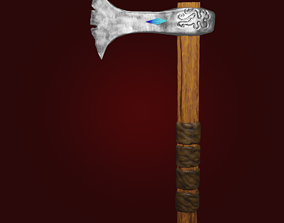 Stylized Hatchet Weapon with crystal PBR 3D asset 2
