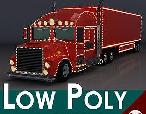Low Poly Cartoon Christmas Truck 3D asset