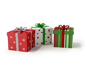 3D model Three Square Wrapped Christmas Gifts