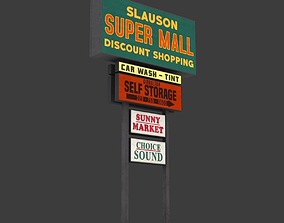 3D asset Mall Sign Billboard