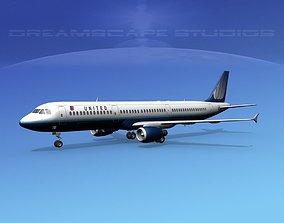 3D model Airbus A321 United 2