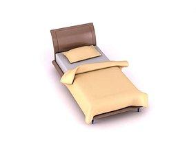 3D Beige Single Bed