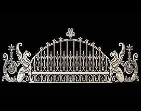 Wrought Iron Fence with Griffins 3D