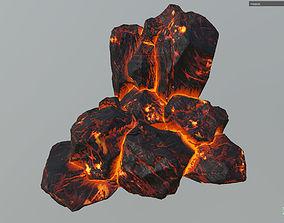 3D model Low poly Realistic Lava Block Modular