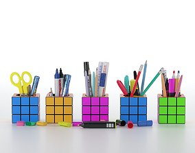 Stationery set in cubes 3D asset