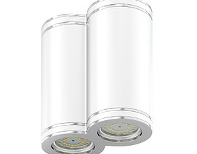 Double Metal Cylindrical Light 3D Model