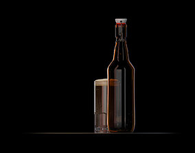 3D model Beer bottle and glass