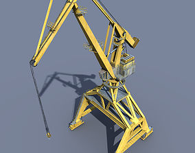 Crane Orange for shipyard cargo terminal or port 3D