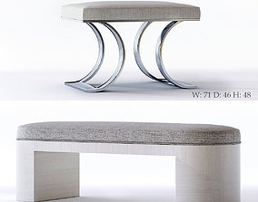 3D model contemporary Bernhardt Axiom Bench