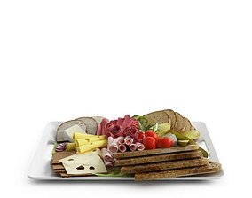 Breakfast Toast Cheese Cold Cuts 3D model